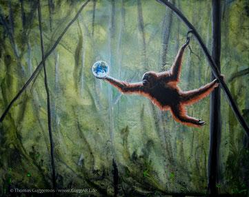 realistisches, surrealistisches Acrylbild, Orang Utan mit Weltkugel, Malerei von Thomas Guggemos