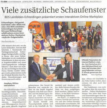 Ingo H. Schaub, Geschäftsführer der Firma Wirtschaftsimpuls GmbH zum Start der lokalen Online-Plattform MYLE.DE der Stadt Leinfelden-Echterdingen