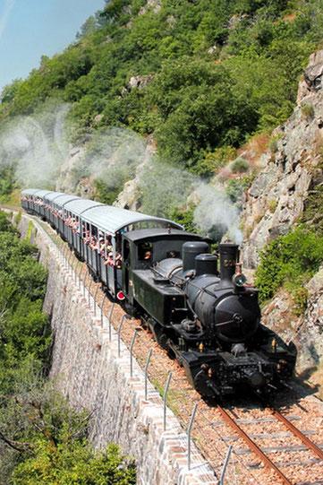 """Le Train du Vivarais ou """"Maestrou"""", remonte le temps en ampruntant la vieille voie de la Vallée du Doux."""