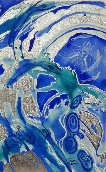 A blue watery painting inspired by a Sound Harmony Reiki Healing session.