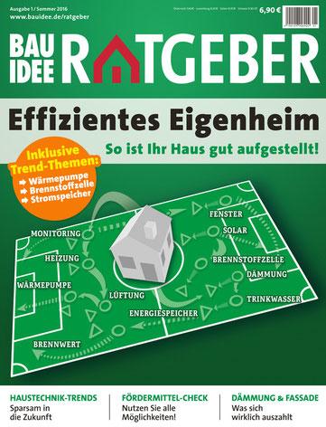 """Der neue BAUIDEE-Ratgeber umfasst 100 Seiten prall gefüllt mit allen wichtigen Informationen rund um das Thema """"Energieeffizientes Eigenheim""""."""