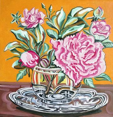 JARRON DE ROSAS (MADRID). Oleo sobre lienzo. 40 x 40 x 3,5 cm.