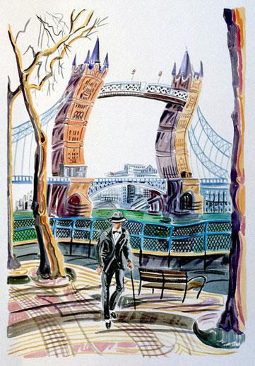 TOWER BRIDGE (LONDRES). Aquarelle sur papier pressé. 76 x 56 x 1 cm.