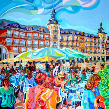 TERRAZAS DE LA PLAZA MAYOR (MADRID). Huile sur toile. 100 x 100 x 3,5 cm.