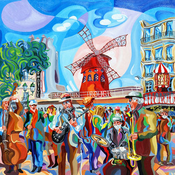 MOLINO ROJO (PARIS). Huile sur toile. 80 x 80 x 3,5 cm.