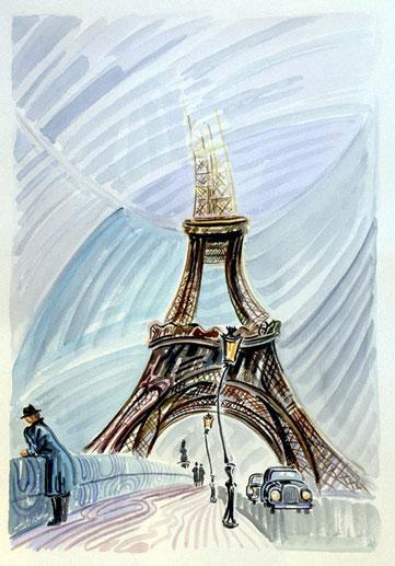 TORRE EIFFEL (PARIS). Aquarelle sur papier pressé. 76 x 56 x 1 cm.