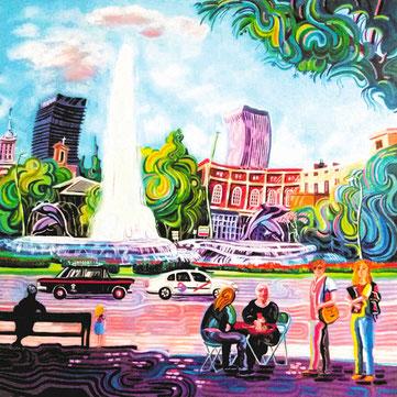 PLAZA DE LA REPUBLICA DE ARGENTINA (MADRID). Oleo sobre lienzo. 80 x 80 x 3,5 cm.