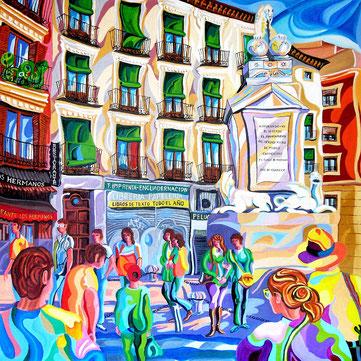LA FUENTECILLA (MADRID). Huile sur toile. 100 x 100 x 3,5 cm.