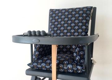 coussin de chaise haute bleu marine
