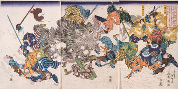 Yamamoto Kansuke Killing a Wild Boar (1868)