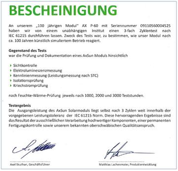 Zertifikat bestätigt qualititative Hochleistungsmodule - jetzt bei iKratos