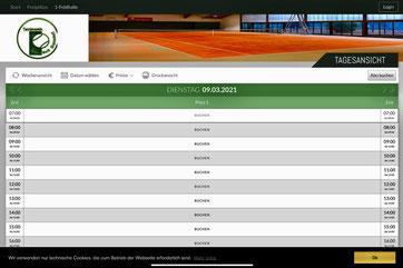 Online Buchung Halle und Platz 1