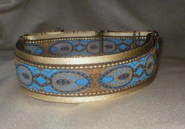 Halsband, Hund, Martingale 4cm breit, Gurtband champagner, Borte in blau-gold Tönen
