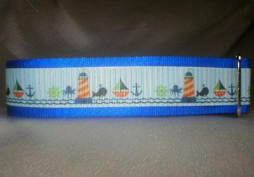 Halsband, Hund, Zugstopp 4cm breit, Gurtband königsblau, Borte See- und Strandmotive