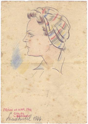 Porträtzeichnung des Italienischen Militärinternierten Allessandro Berrettti von der polnische AK-Gefangenen Zefia Narewska. Gedenkstätte Lager Sandbostel