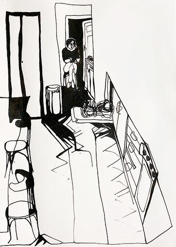 Nina Gross Kunst Zeichnung art selbst in der küche