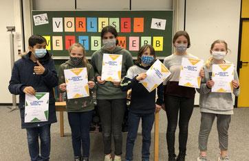 Teilnehmer am Vorlesewettbewerb