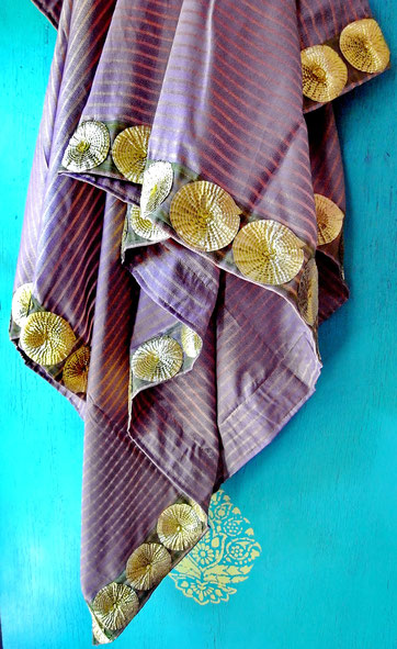Gold-striped, lavendar, Indian handloom, cotton & silk throw with gold circles on jari border