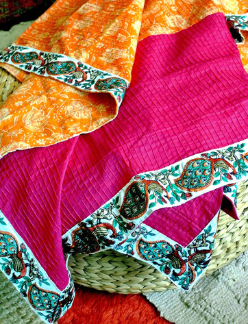 Pink & orange, floral block print, pinched pleat, Indian cotton throw with green & rust peacock jari border