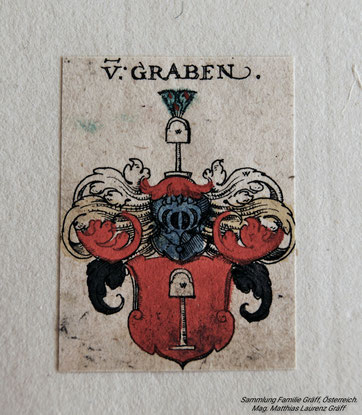 Coat of arms Von Graben (estate father Lambert Graef, OSB, *1848, also Lambert Gräf). Collection Matthias Laurenz Gräff