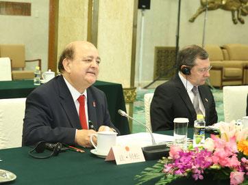 réunion de travail avec le président et les vices-présidents du groupe d'amitié France-Chine de l'assemblée nationale populaire à l'occasion du 50ème anniversaire de la reconnaissance de la Chine par la France