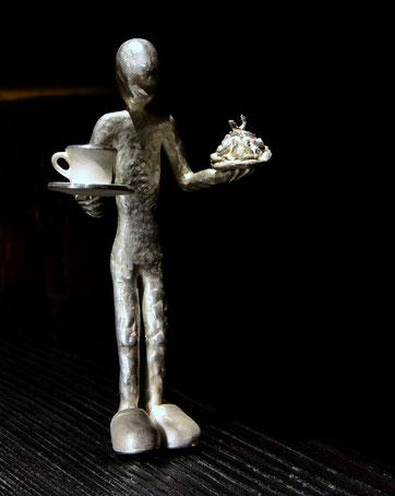 silver sculpture Fika, Holger Schulz Småland Sweden silver wood
