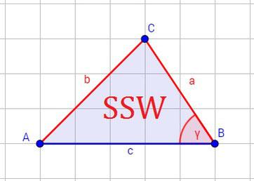Beispiel für den Kongruenzsatz SSW (Seite Seite Winkel)