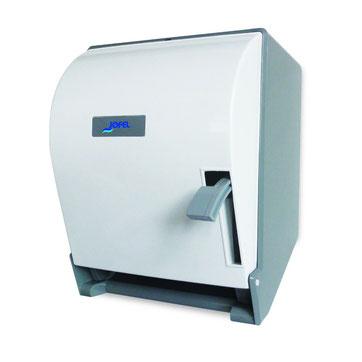 Despachador / Dispensador de toalla en rollo palanca PT61000 Color: Blanco con base gris Dimensiones en milímetros: Alto: 365 Largo: 285 Ancho: 245 Capacidad: 1 rollo de 8'' / 20.3 cm Contenido por caja: 1 pieza