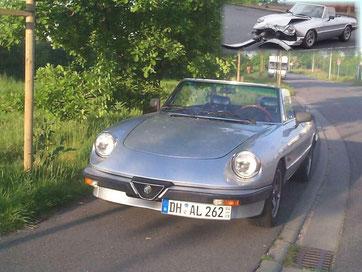 Alfa Romeo Spider 2000 1982, wurde leider nach wenigen Tagen von einem Motorrad zerlegt