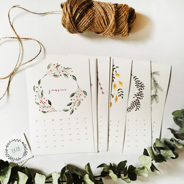 Botanical wreaths calendar