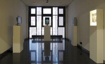 Interna, 2014  Installation, 2 Leuchtkästen auf Sockel sowie 2 Monitore auf Sockel und 2 Laptops