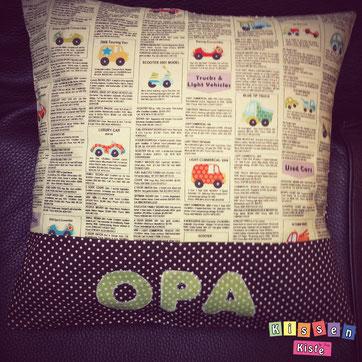 Individuelles Namenskissen für den Opa mit Autos - by Kissenkiste