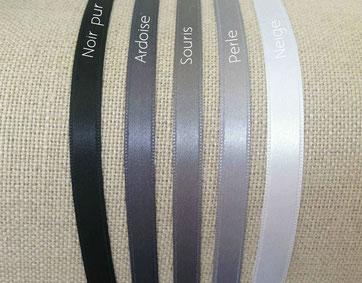 ruban satin nuances gris noir blanc