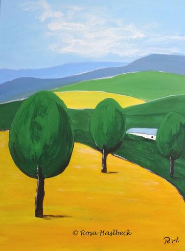 Acrylbild, acryl, landschaft, felder, wiesen, baum, bäume, gelb, grün, blau, weiß, bild, malen, malerei, kunst, geko, dekoration, wandbild, abstrakt