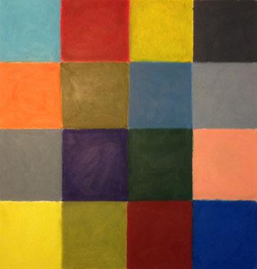 Reaktionen auf dunkles Grün - ein mathematisches Rätsel, 38x40cm, Ölpastell auf Papier, 2013