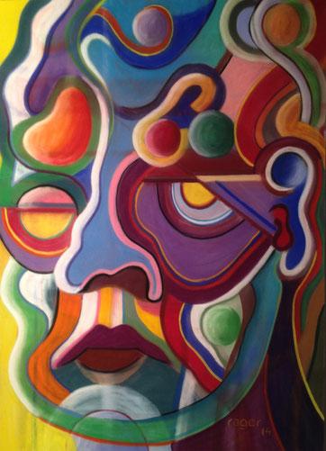 L'homme aux idées rondes, 50x70cm, Pastell auf Velourspapier, 2014