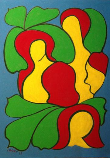 Grazien im Gartenlokal, 50x70cm, Pastell auf Velourspapier, 2013