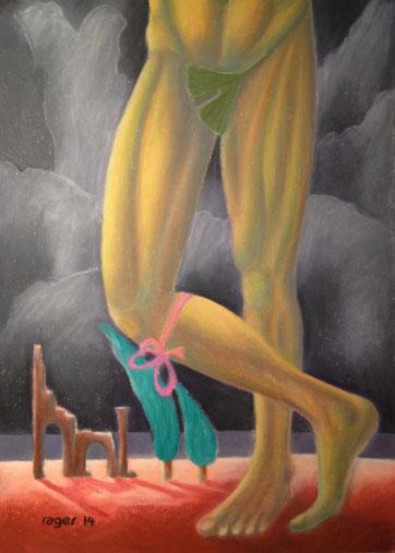 Ein halber Akt von Goethe. Das Theater mit dem Strumpfband oder Der Gingko als Feigenblatt in Sturm und Drang. 50x70cm, Ölpastell auf Papier, 2014