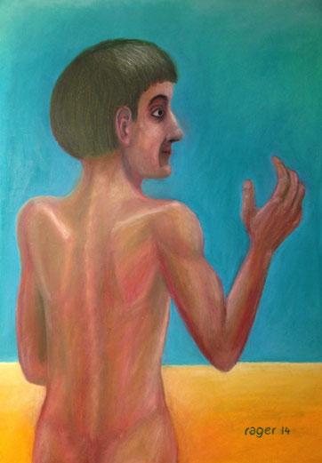 Le spalle sulla spiaggia, 42x59cm, Ölpastell auf Papier, 2014