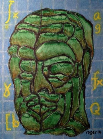 Denkmal des Denkers von Moos mit Moos, 42x56cm, Aquarell und Ölpastell auf Papier, 2014