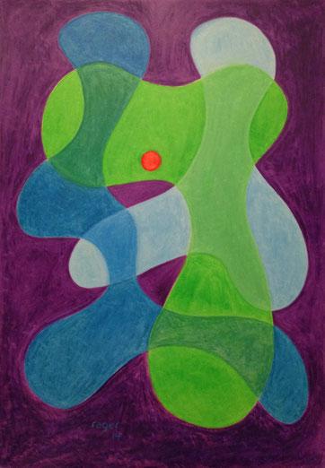 Weiterhin im grünen Bereich, 70x100cm, Ölpastell auf Papier, 2014