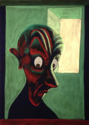 Armer Teufel vor schwächelndem Höllenfeuer, 50x70cm, Pastell auf schwarzem Velourspapier, 2013