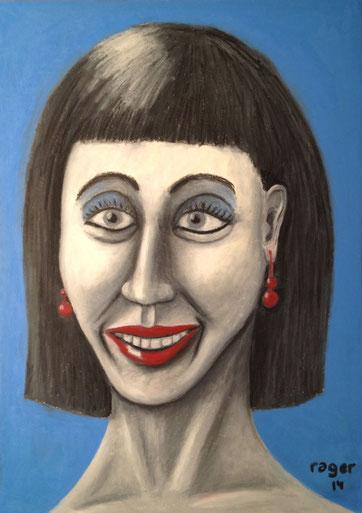 Portrait mit roten Ohrenringen, 29x42cm, Ölpastell auf Papier, 2014