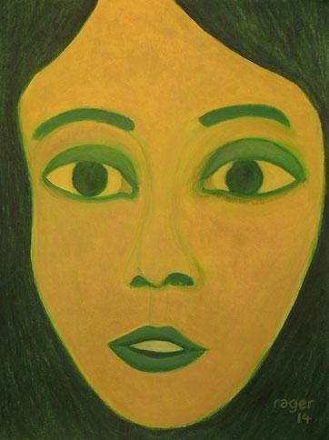 Une jeune jaune, 42x56cm, Ölpastell auf Aquarell auf Papier, 2014