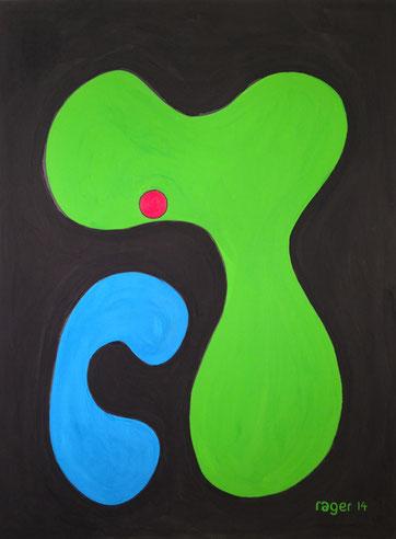 Im grünen Bereich, 42x56cm, Gouache, schwarzer Filzstift und Ölpastell auf Papier, 2014