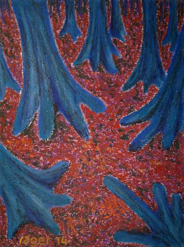 Dieser Ort im Wald, 42x56cm, Ölpastell auf Papier, 2014