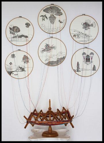 Installazione 110x140x60; carta; disegno a china; ricamo a mano con filo di seta; telai; arcolaio; 2017