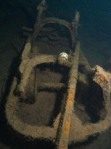 Lore unter Wasser in Löbejün