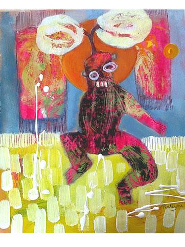 """peinture sur papier 30x20cm """"le primitif"""""""