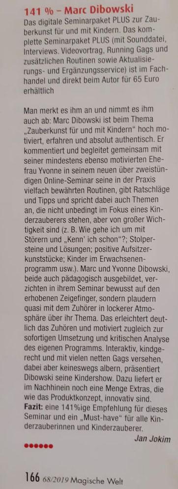 """Rezension """"141 Prozent"""" in der Magischen Welt, der Fachzeitschrift für Zauberkünstler in Deutschland."""
